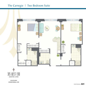 the carnegie 2 bedroom suite
